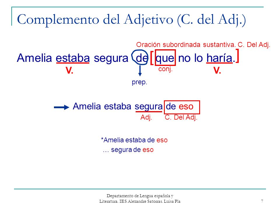Complemento del Adjetivo (C. del Adj.)
