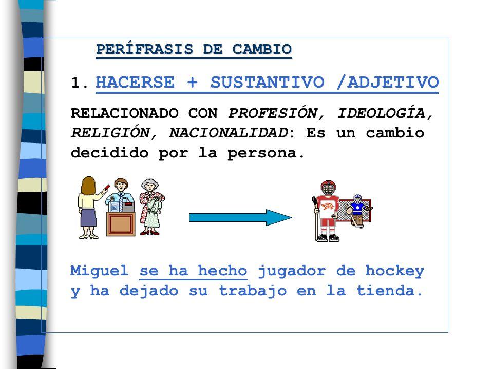 PERÍFRASIS DE CAMBIO 1. HACERSE + SUSTANTIVO /ADJETIVO.