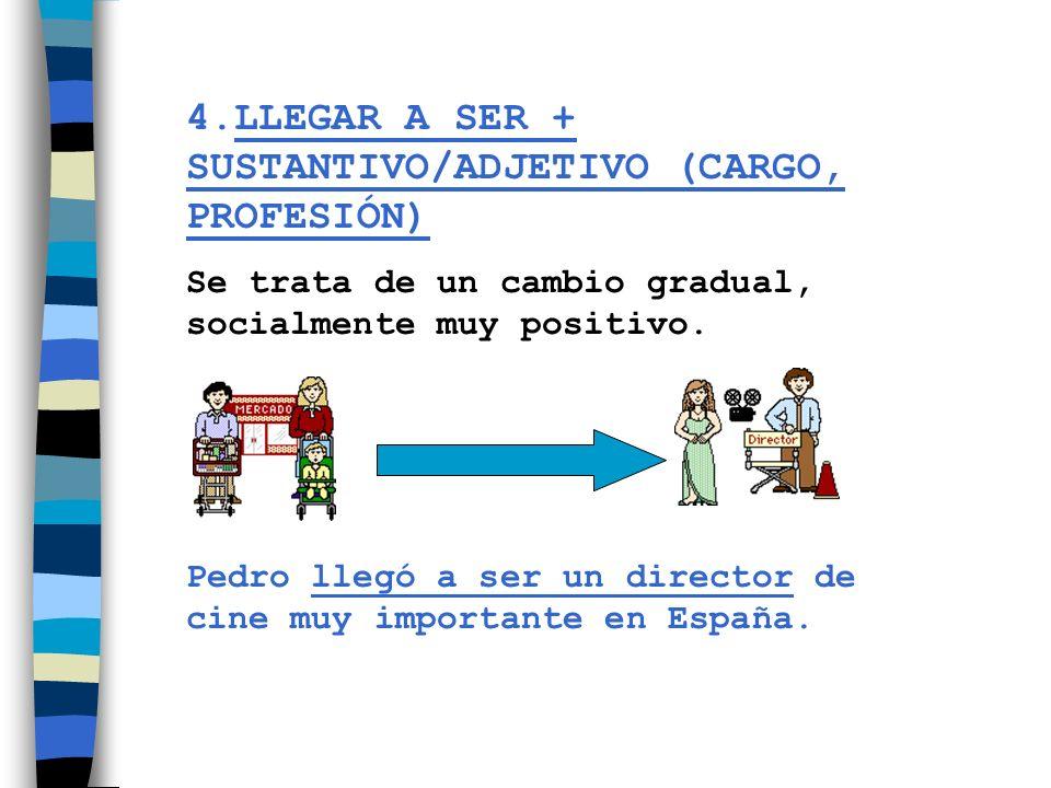 4.LLEGAR A SER + SUSTANTIVO/ADJETIVO (CARGO, PROFESIÓN)