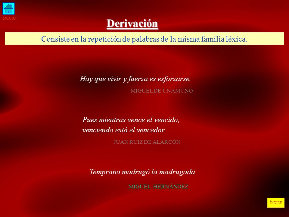 INICIO Derivación. Consiste en la repetición de palabras de la misma familia léxica. Hay que vivir y fuerza es esforzarse.