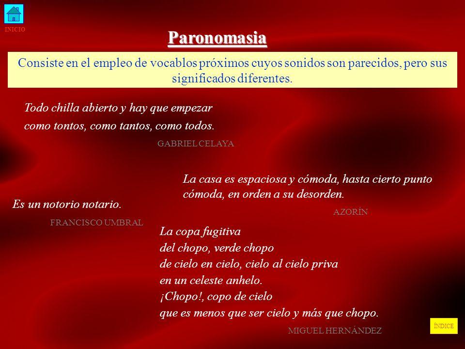 INICIOParonomasia. Consiste en el empleo de vocablos próximos cuyos sonidos son parecidos, pero sus significados diferentes.