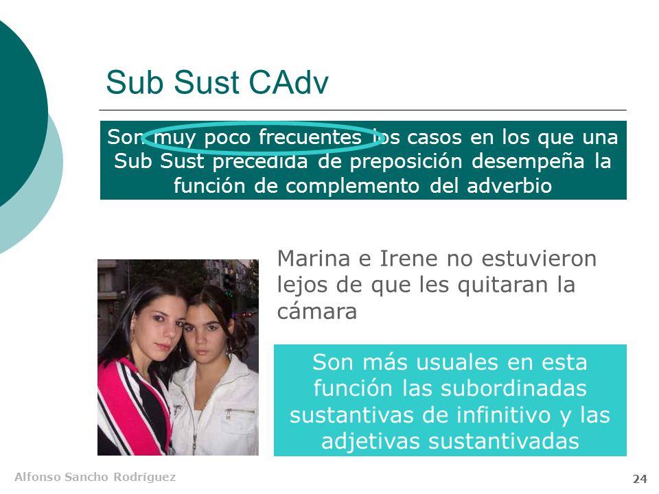Sub Sust CAdv Son muy poco frecuentes los casos en los que una Sub Sust precedida de preposición desempeña la función de complemento del adverbio.