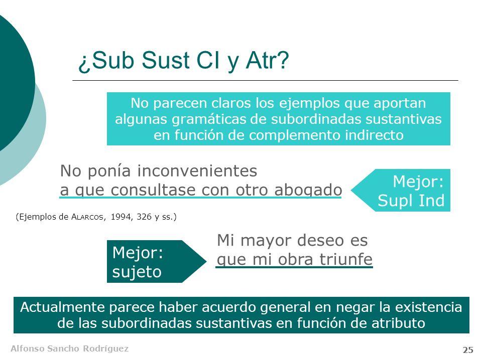 ¿Sub Sust CI y Atr No parecen claros los ejemplos que aportan algunas gramáticas de subordinadas sustantivas en función de complemento indirecto.