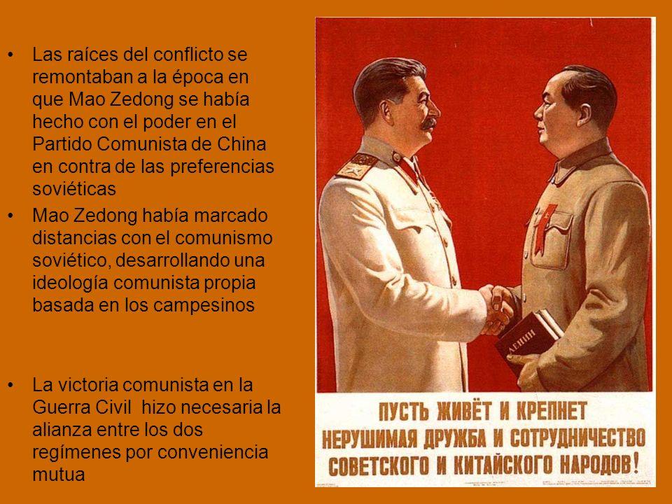 Las raíces del conflicto se remontaban a la época en que Mao Zedong se había hecho con el poder en el Partido Comunista de China en contra de las preferencias soviéticas