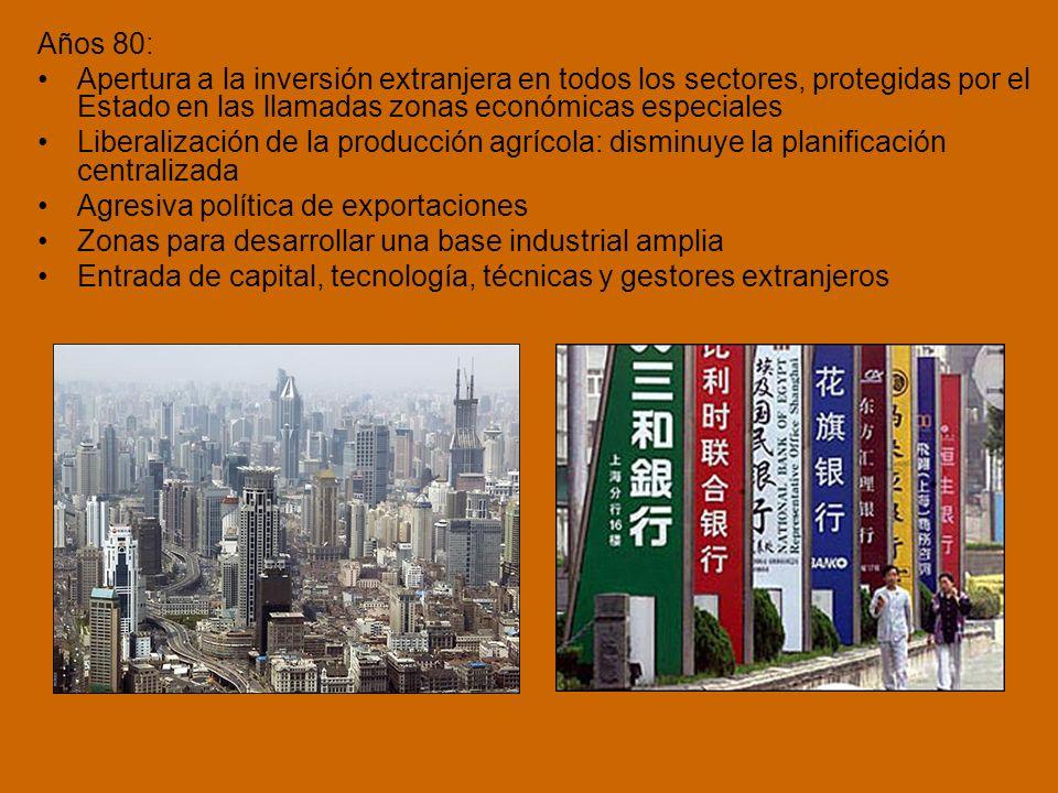 Años 80: Apertura a la inversión extranjera en todos los sectores, protegidas por el Estado en las llamadas zonas económicas especiales.