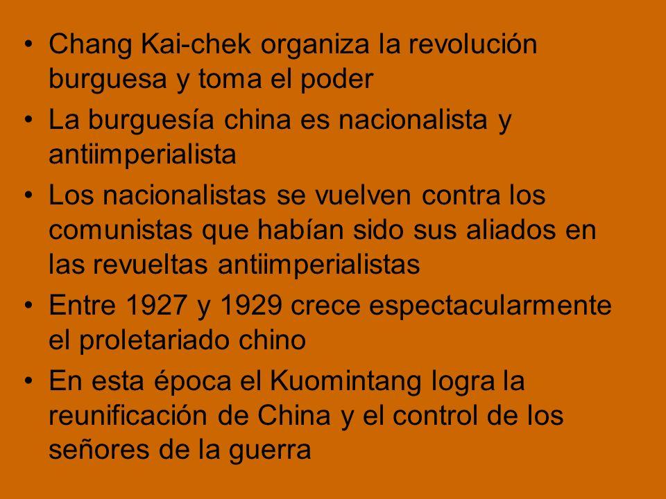 Chang Kai-chek organiza la revolución burguesa y toma el poder