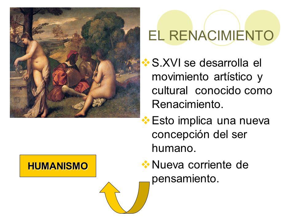 EL RENACIMIENTOS.XVI se desarrolla el movimiento artístico y cultural conocido como Renacimiento. Esto implica una nueva concepción del ser humano.