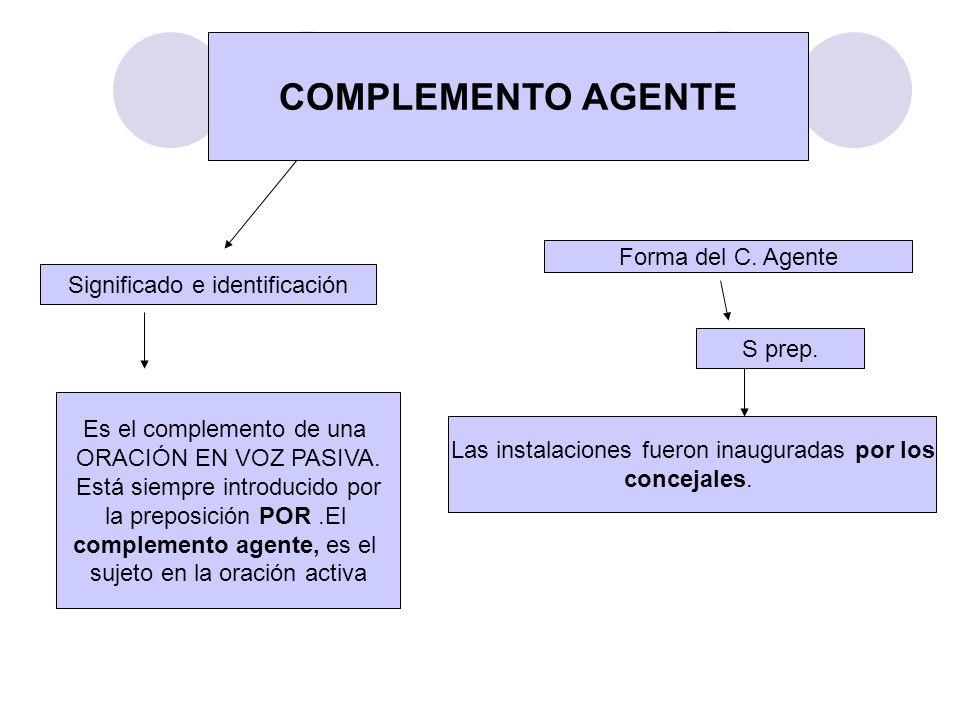 COMPLEMENTO AGENTE Forma del C. Agente Significado e identificación