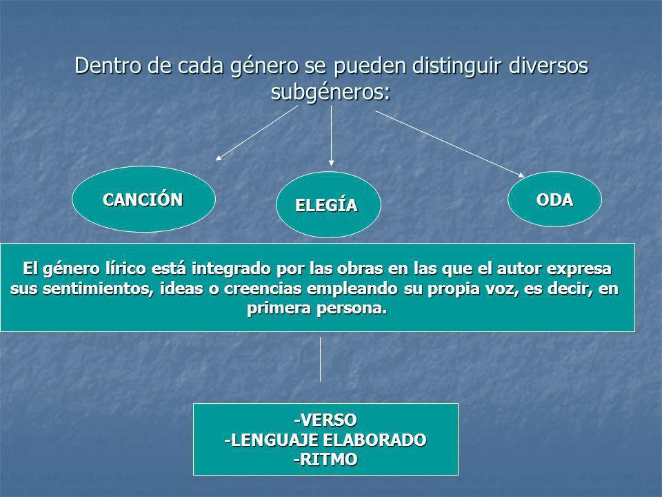 Dentro de cada género se pueden distinguir diversos subgéneros: