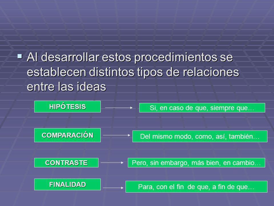 Al desarrollar estos procedimientos se establecen distintos tipos de relaciones entre las ideas