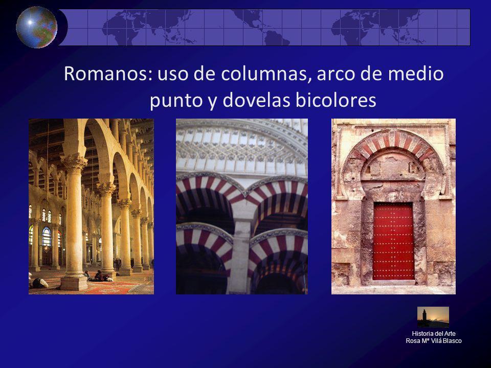 Romanos: uso de columnas, arco de medio punto y dovelas bicolores