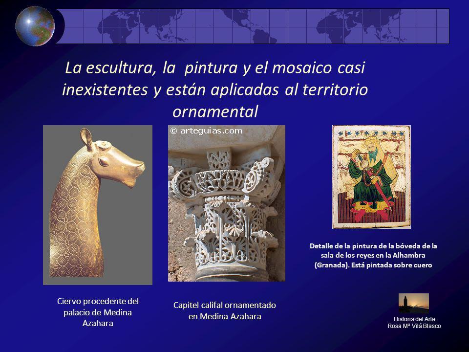La escultura, la pintura y el mosaico casi inexistentes y están aplicadas al territorio ornamental