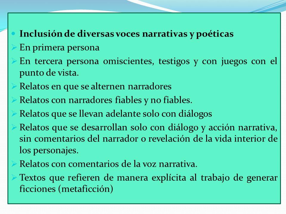 Inclusión de diversas voces narrativas y poéticas