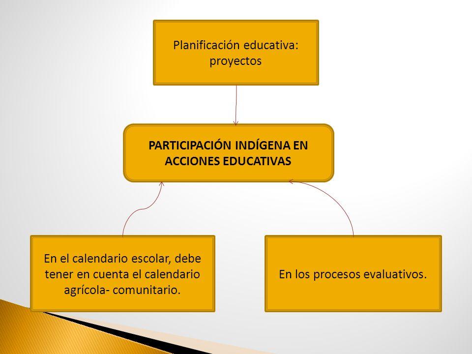 PARTICIPACIÓN INDÍGENA EN ACCIONES EDUCATIVAS
