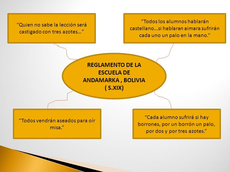 REGLAMENTO DE LA ESCUELA DE ANDAMARKA , BOLIVIA