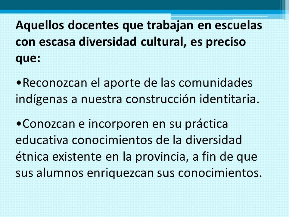 Aquellos docentes que trabajan en escuelas con escasa diversidad cultural, es preciso que: