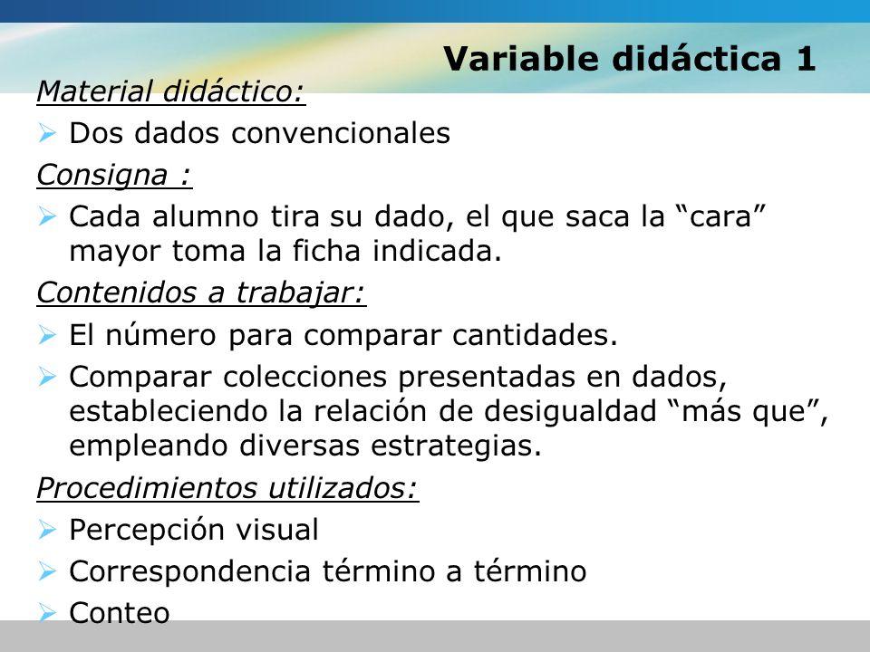 Variable didáctica 1 Material didáctico: Dos dados convencionales