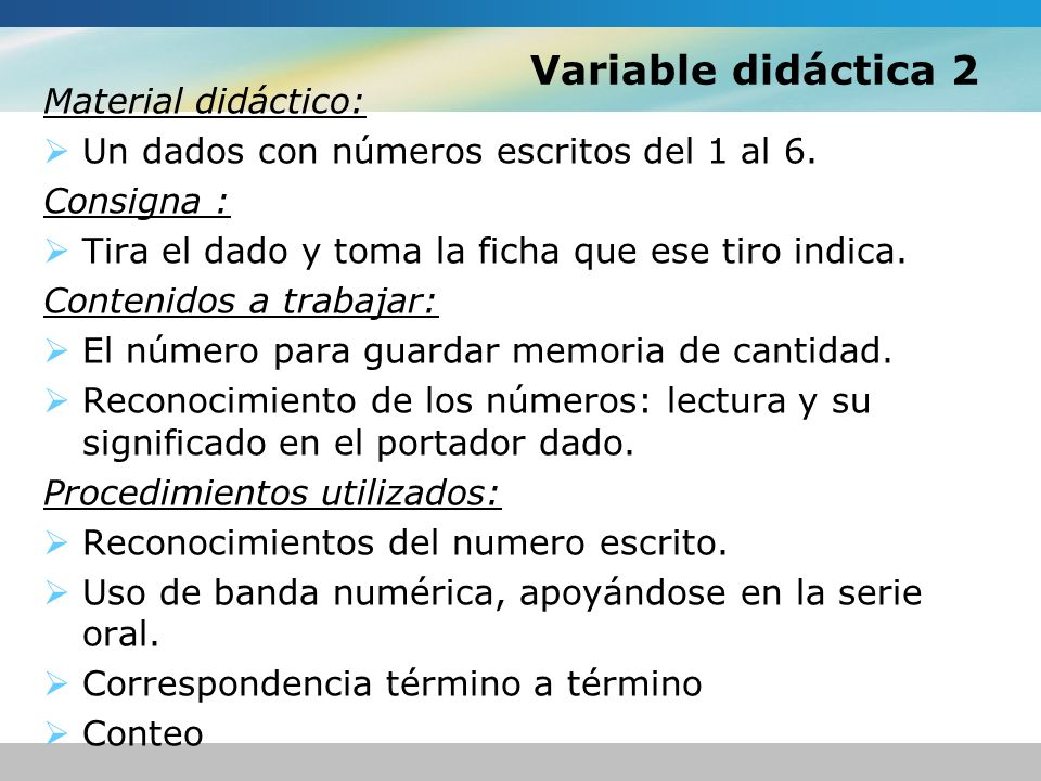 Variable didáctica 2 Material didáctico: