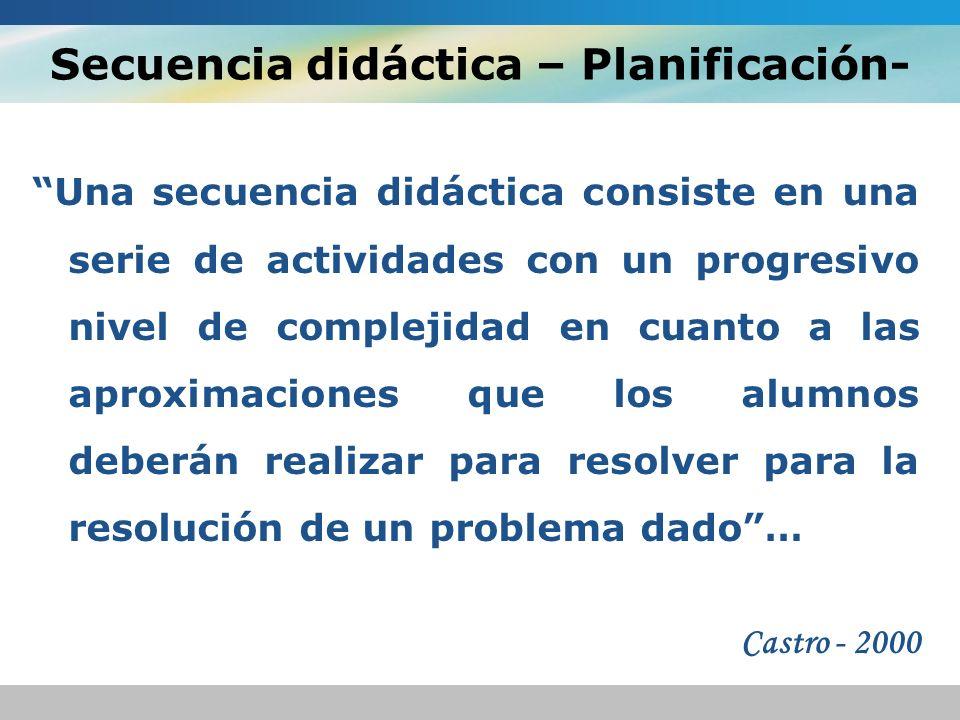 Secuencia didáctica – Planificación-