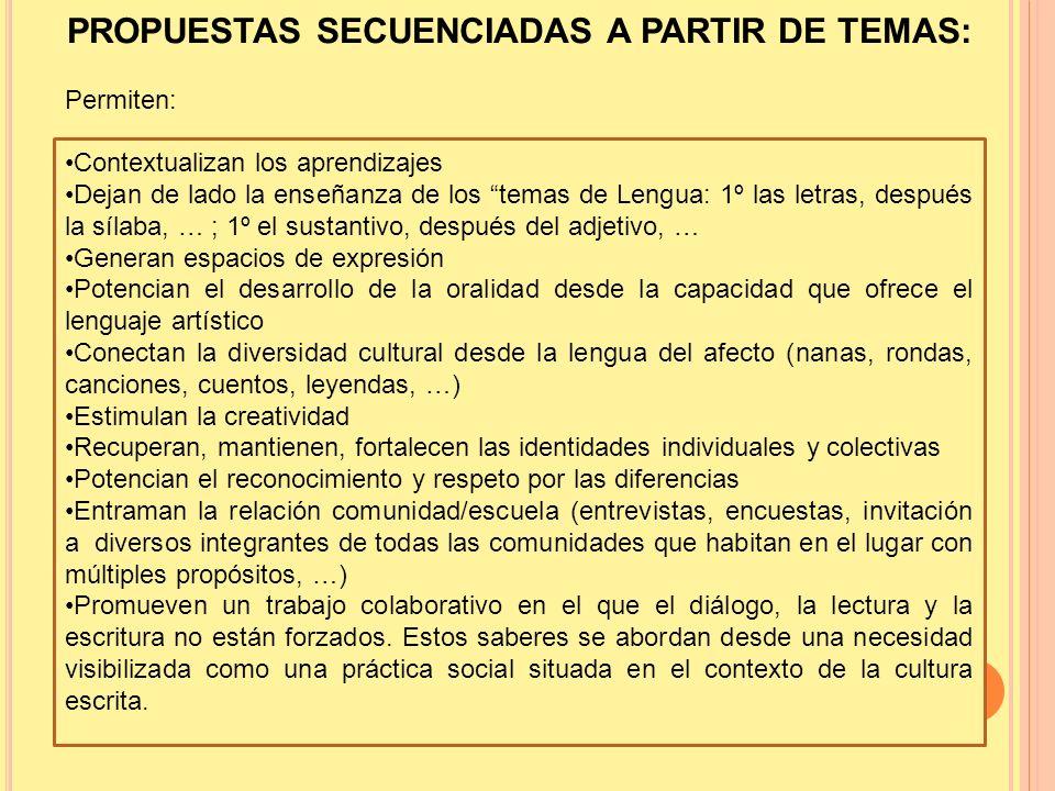 PROPUESTAS SECUENCIADAS A PARTIR DE TEMAS: