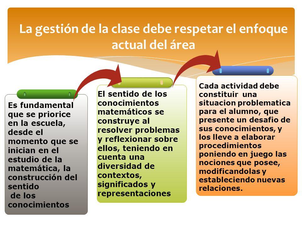 La gestión de la clase debe respetar el enfoque actual del área
