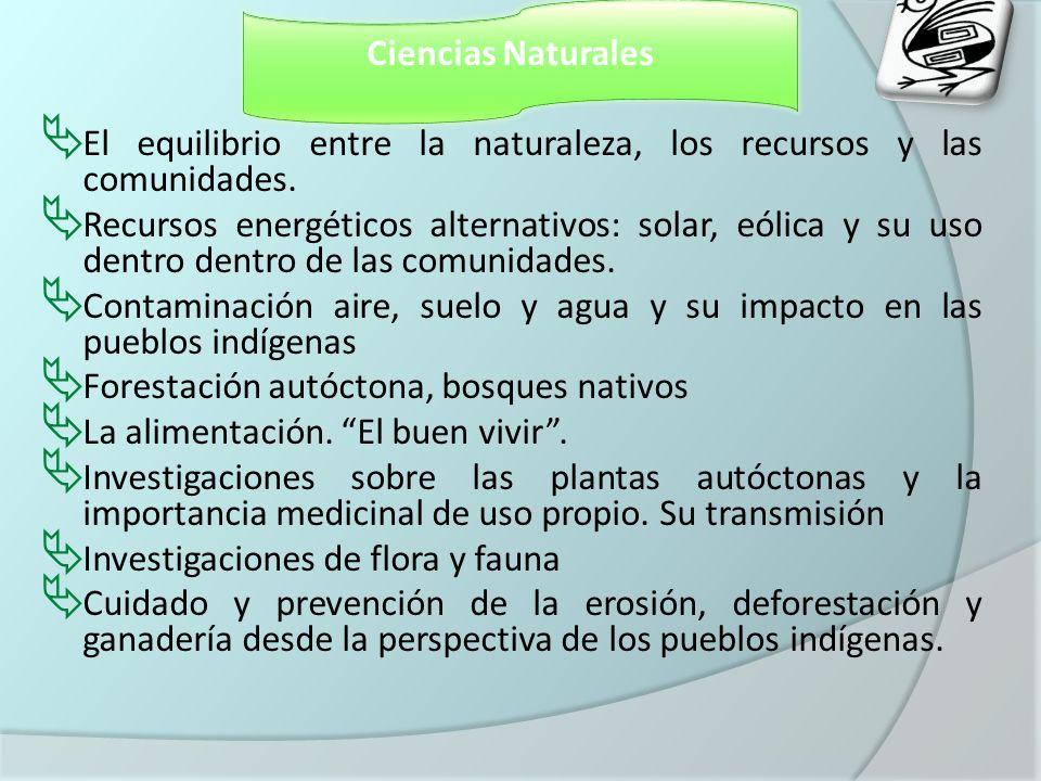 Ciencias Naturales El equilibrio entre la naturaleza, los recursos y las comunidades.