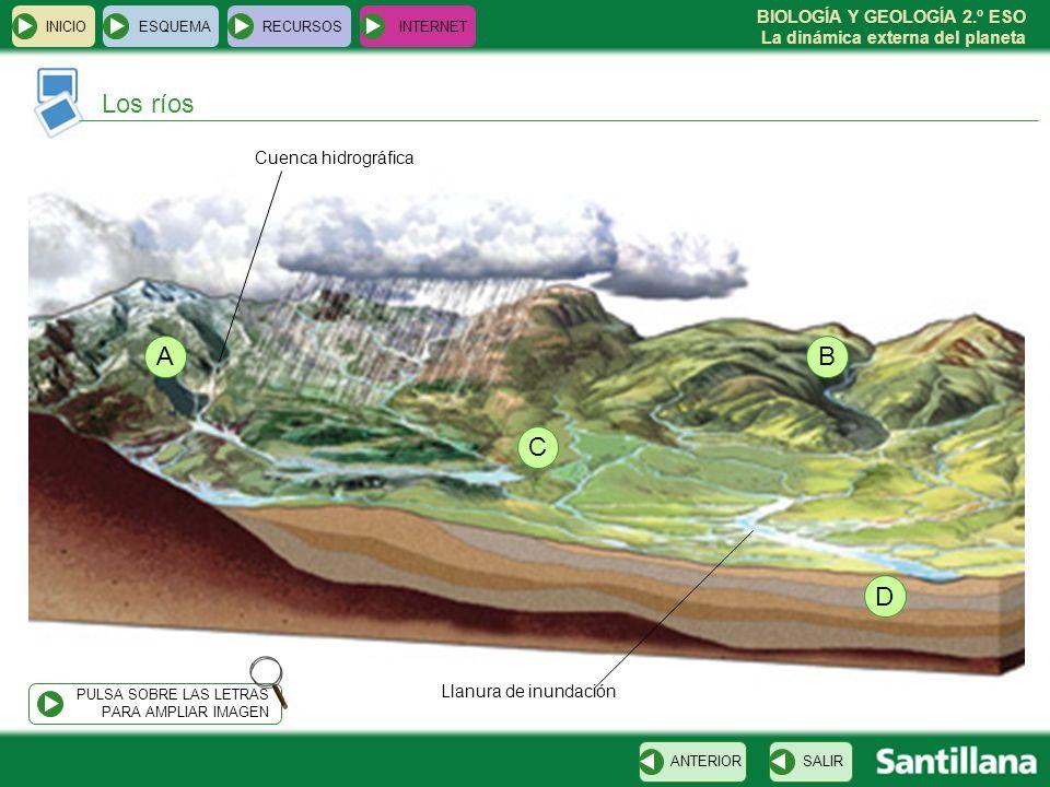 Los ríos A B C D Cuenca hidrográfica Llanura de inundación INICIO