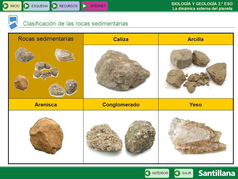 Clasificación de las rocas sedimentarias Rocas sedimentarías