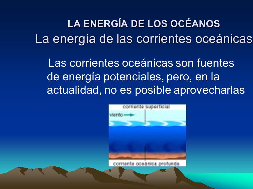 LA ENERGÍA DE LOS OCÉANOS La energía de las corrientes oceánicas