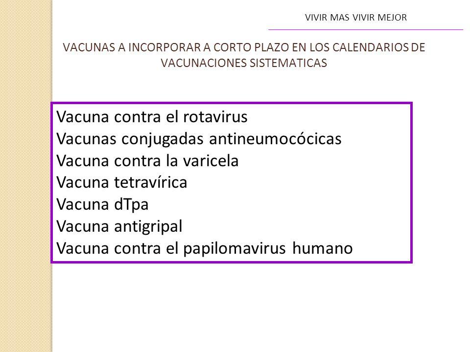 Vacuna contra el rotavirus Vacunas conjugadas antineumocócicas