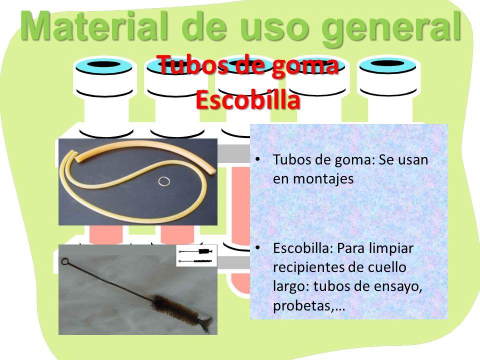 Material de uso general Tubos de goma Escobilla