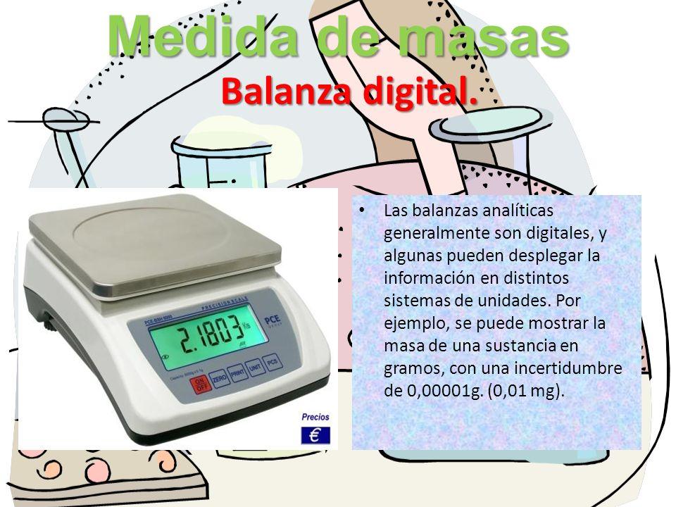 Medida de masas Balanza digital.