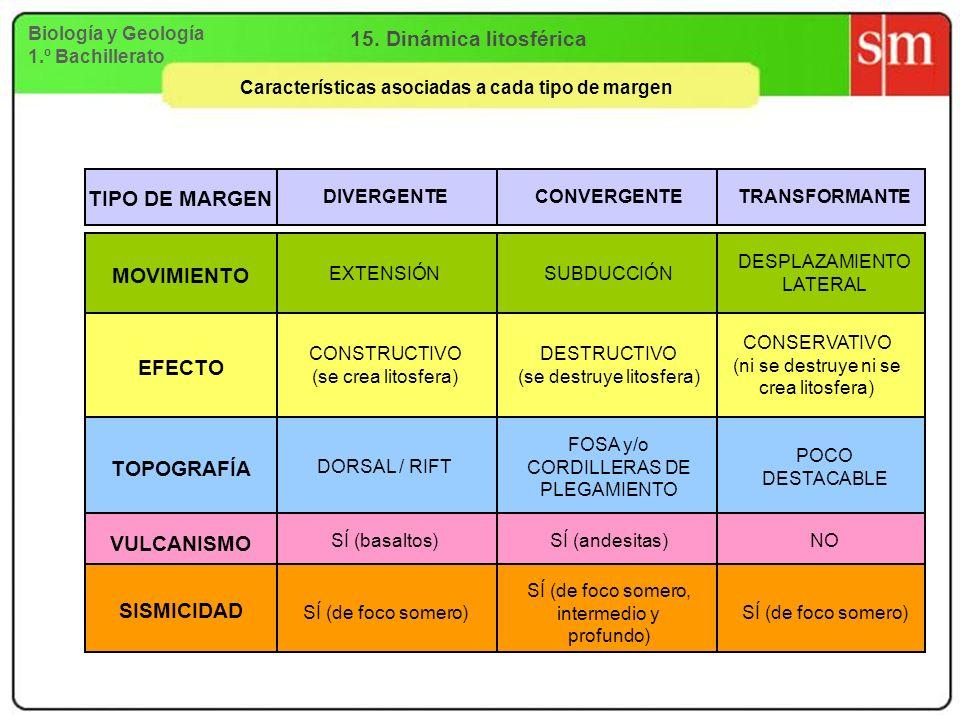 Características asociadas a cada tipo de margen