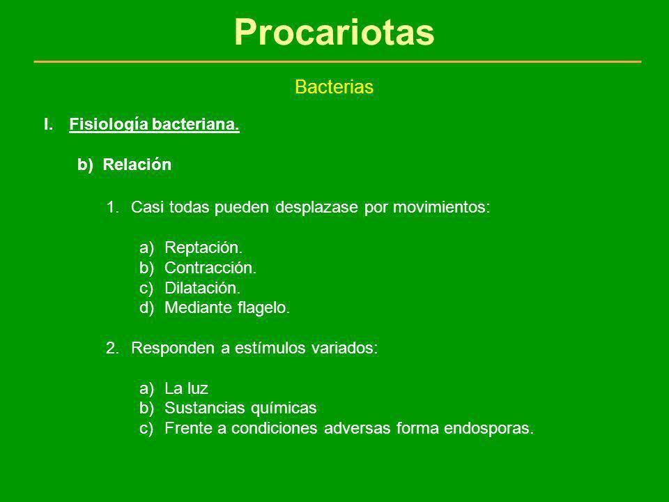 Procariotas Bacterias Fisiología bacteriana. Relación