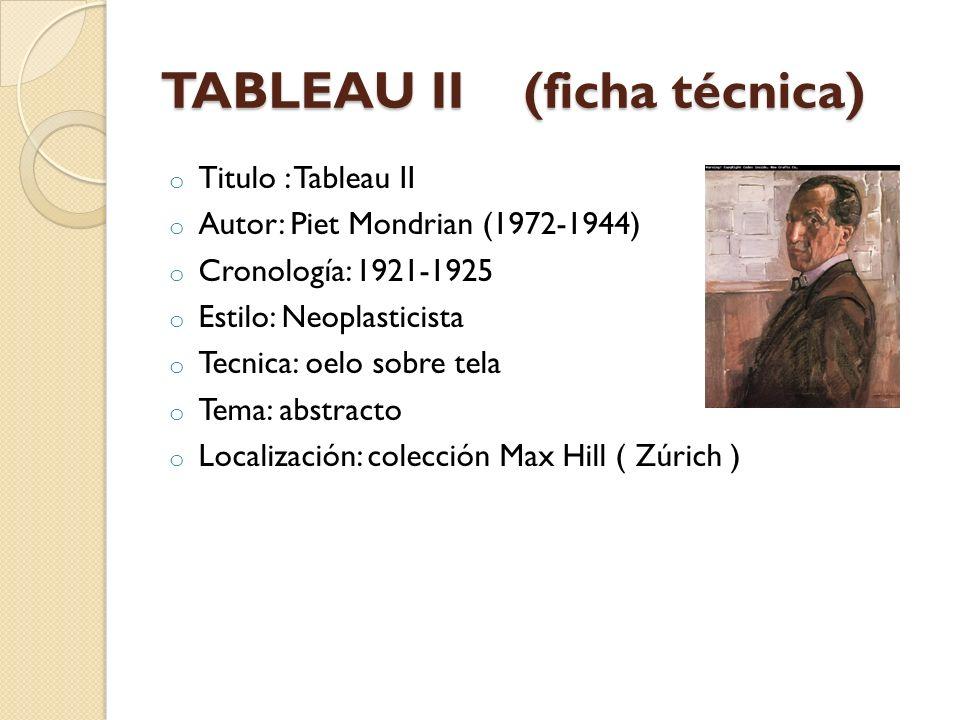 TABLEAU II (ficha técnica)