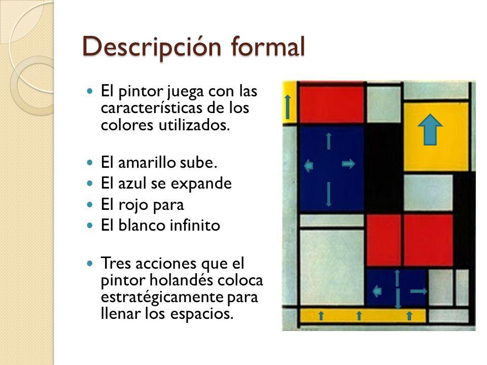 Descripción formalEl pintor juega con las características de los colores utilizados. El amarillo sube.