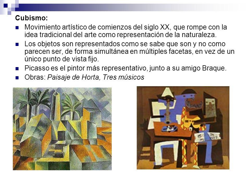 Cubismo:Movimiento artístico de comienzos del siglo XX, que rompe con la idea tradicional del arte como representación de la naturaleza.