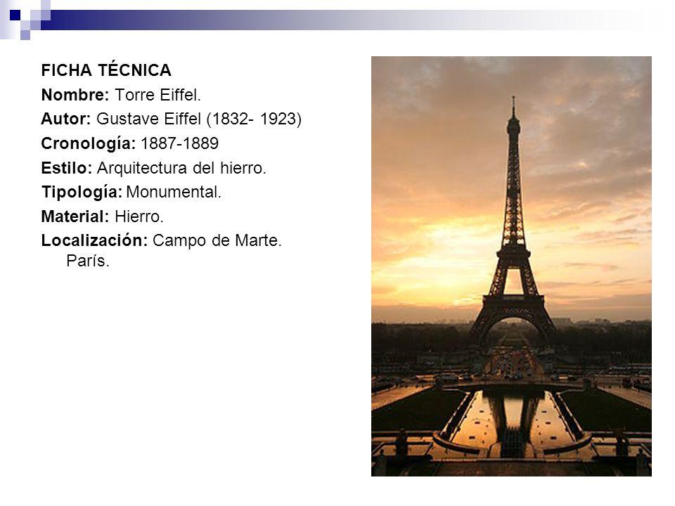 FICHA TÉCNICANombre: Torre Eiffel. Autor: Gustave Eiffel (1832- 1923) Cronología: 1887-1889. Estilo: Arquitectura del hierro.