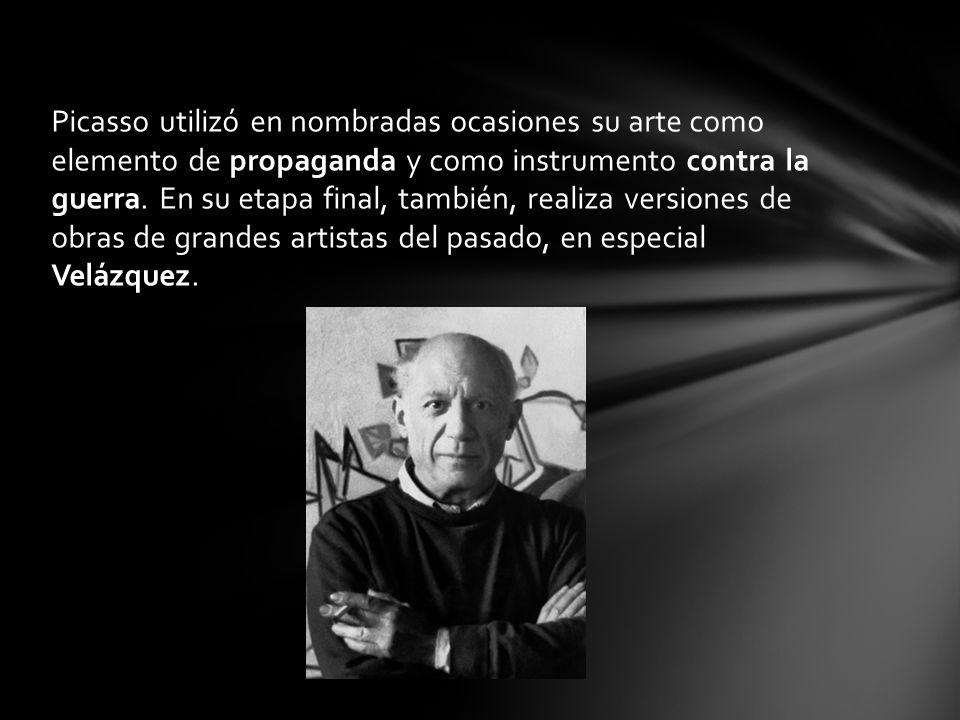 Picasso utilizó en nombradas ocasiones su arte como elemento de propaganda y como instrumento contra la guerra.