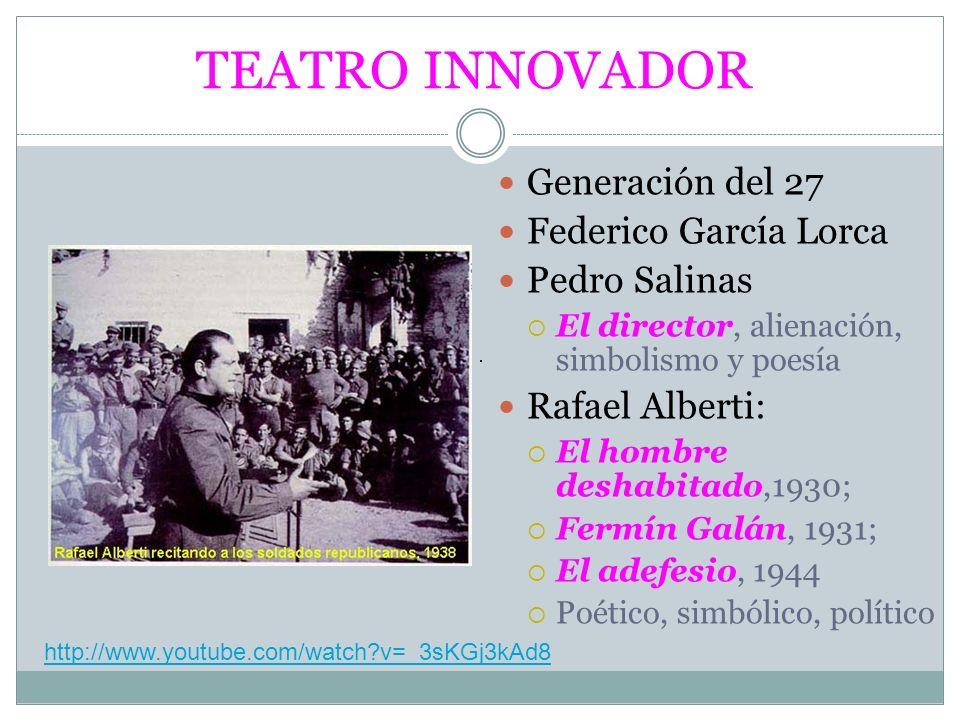 TEATRO INNOVADOR Generación del 27 Federico García Lorca Pedro Salinas