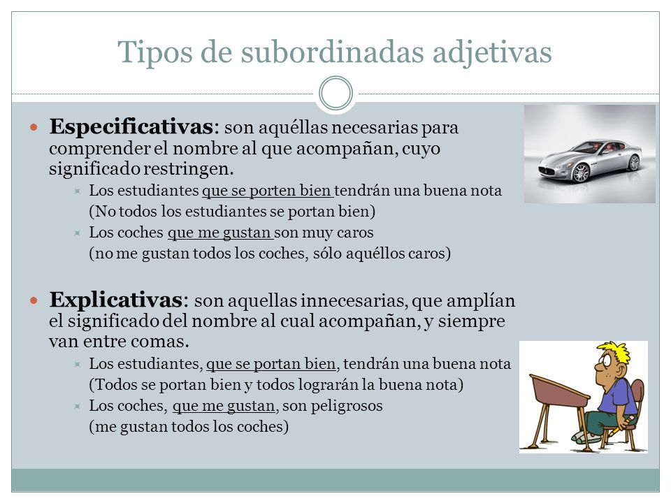 Tipos de subordinadas adjetivas