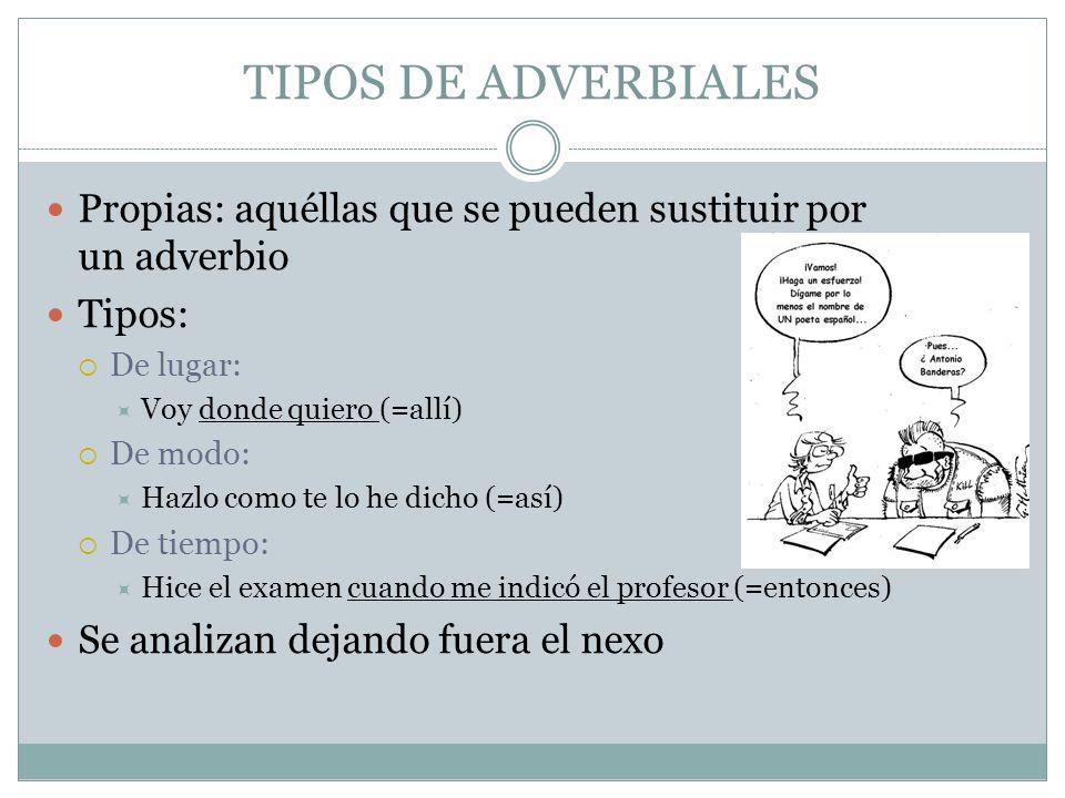 TIPOS DE ADVERBIALES Propias: aquéllas que se pueden sustituir por un adverbio. Tipos: De lugar: Voy donde quiero (=allí)