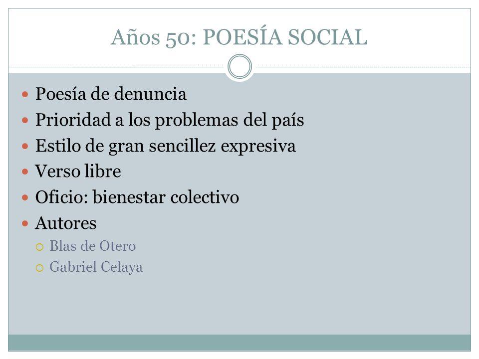Años 50: POESÍA SOCIAL Poesía de denuncia