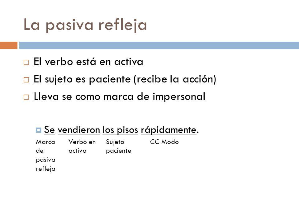 La pasiva refleja El verbo está en activa