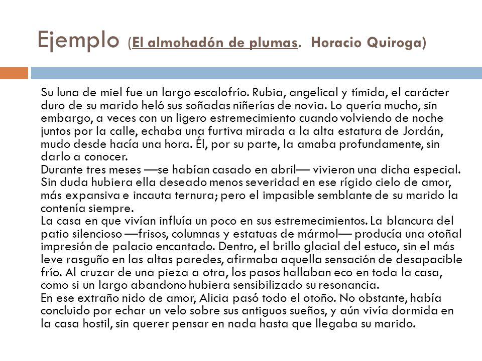 Ejemplo (El almohadón de plumas. Horacio Quiroga)
