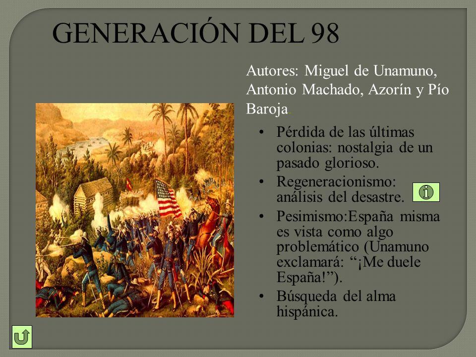 GENERACIÓN DEL 98 Autores: Miguel de Unamuno, Antonio Machado, Azorín y Pío Baroja.