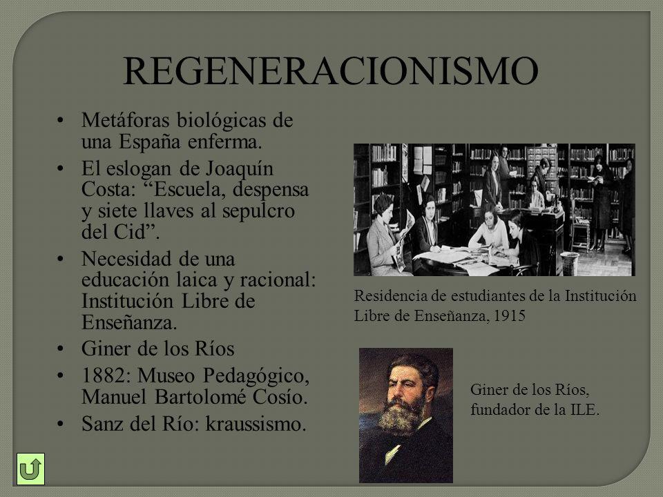 REGENERACIONISMO Metáforas biológicas de una España enferma.