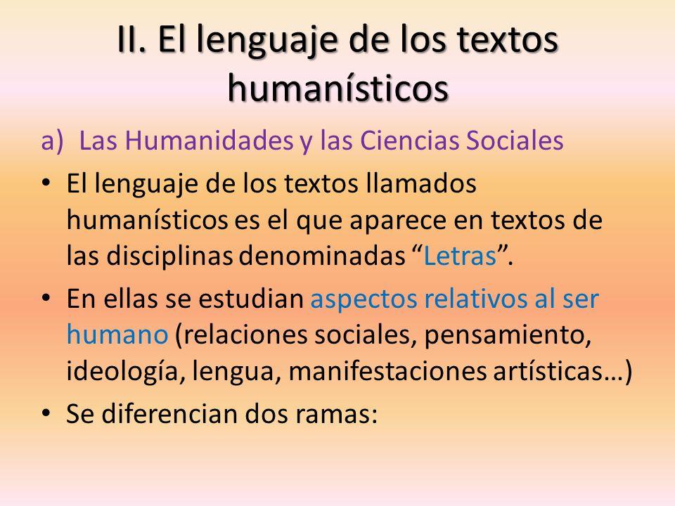 II. El lenguaje de los textos humanísticos
