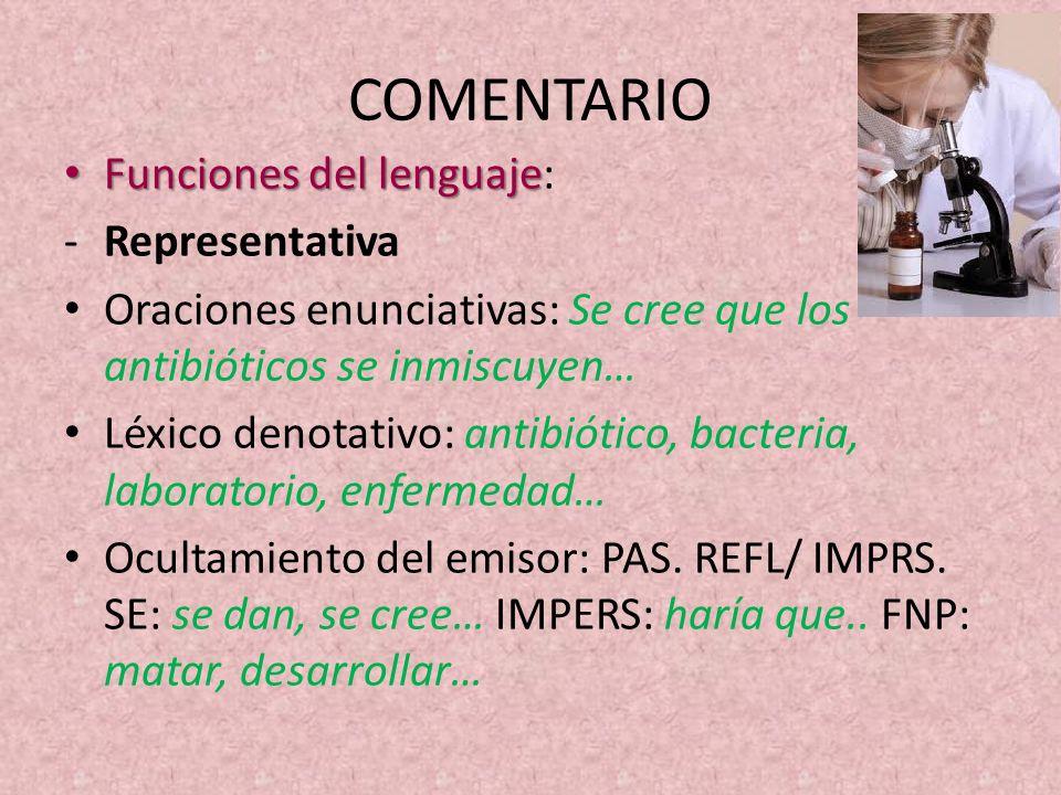 COMENTARIO Funciones del lenguaje: Representativa