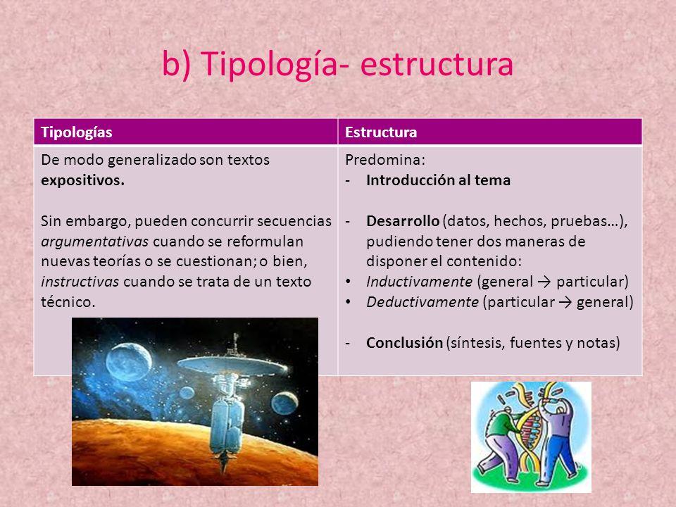 b) Tipología- estructura